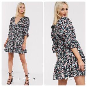 ASOS Design Cotton Poplin Tired Wrap Dress 16